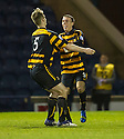 Alloa's Edward Ferns (9) celebrates with Liam Lindsay (5) after he scores their first goal.