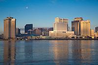 French Quarter, New Orleans, Louisiana.  World Trade Center, City Skyline, Mississippi River.