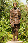 Granchester Cambridgeshire UK Rupert Brooke statue in the grounds of the Old Vicarage, the home of novelist Jeffrey Archer.