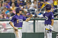 TCU Horned Frogs outfielder Cody Jones (1) after scoring against the LSU Tigers in Game 10 of the NCAA College World Series on June 18, 2015 at TD Ameritrade Park in Omaha, Nebraska. TCU defeated the Tigers 8-4, eliminating LSU from the tournament. (Andrew Woolley/Four Seam Images)