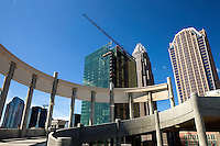 A parking garage under construction makes a graphic foreground to the still-under-construction Bank of America office building in downtown Charlotte, NC, in early 2010.