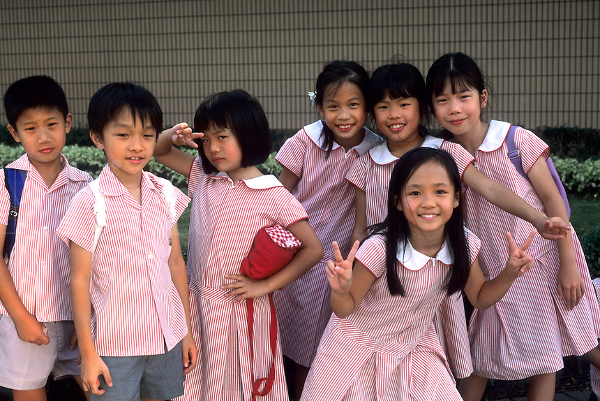 School children age 7 and 8 in Uniform smiling in Hong Kong Islan