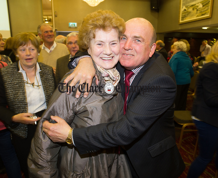 A delighted Tom Mc Namara is congratulated following his election during the election count at The West county Hotel, Ennis. Photograph by John Kelly.