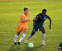 Sky Blue FC forward Kerri Hanks (16) and Saint Louis Athletica defender Tina Ellertson (8) during a WPS match at Anheuser Busch Soccer Park, in St. Louis, MO, July 22 2009. Athletica won the match 1-0.
