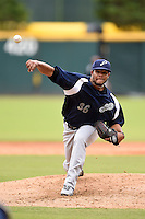 Pensacola Blue Wahoos pitcher Daniel Corcino (36) delivers a pitch during a game against the Jacksonville Suns on April 20, 2014 at Bragan Field in Jacksonville, Florida.  Jacksonville defeated Pensacola 5-4.  (Mike Janes/Four Seam Images)