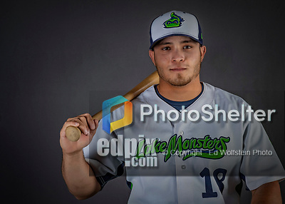 11 June 2019: Vermont Lake Monsters catcher Jose Rivas poses for a portrait on Photo Day at Centennial Field in Burlington, Vermont. The Lake Monsters are the Single-A minor league affiliate of the Oakland Athletics and play a short season in the NY Penn League Stedler Division. Mandatory Credit: Ed Wolfstein Photo *** RAW (NEF) Image File Available ***