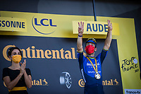 Mark Cavendish (GBR/Deceuninck-Quick Step) checking his digits as he wins his 34th TdF stage and equals the historic record of Eddy Merckx <br /> <br /> Stage 13 from Nîmes to Carcassonne (219.9km)<br /> 108th Tour de France 2021 (2.UWT)<br /> <br /> ©kramon