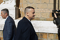 """Rocco Casalino (Italian politician, Spokesperson and press office head of the Italian Prime Minister Giuspeppe Conte, former Spokesperson and Coordinator of the National Communication for the Five Star Movement, Engineer and participant of the first Italian edition of the reality show """"Big Brother"""").<br /> <br /> Rome, 23/03/2019. The President of the People's Republic of China (General Secretary of the Communist Party of China, and Chairman of the Central Military Commission), Xi Jinping, meets the Italian Prime Minister Giuseppe Conte at Villa Madama during the second day of a three-day State visit to Italy. After the arrival of Xi Jinping greeted with the full honors at the splendid Renaissance Villa designed by Raffaello Sanzio, the Chinese delegation and the Italian delegation led by the Luigi Di Maio (Deputy Prime Minister, Minister of Economic development, Labour and Social Policies, and leader of the Five Star Movement) signed a memorandum of understanding - 29 separate protocols - supporting the """"Belt and Road"""" initiative (part of the """"New Silk Road Project"""") as the first of the Seven major economies in the world. Luigi Di Maio stated that """"the value of individual deals signed amounts to about 2,5 billion euros, with the potential to grow to about 20 billion euros""""."""
