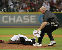 Houston Astros pitcher Jose Valverde after getting hit on the face with a ball hit by Phillies 3B Pedro Feliz on Friday May 23rd at Minute Maid Park in Houston, Texas. Photo by Andrew Woolley / Baseball America.