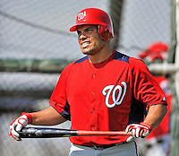 20 February 2011: Washington Nationals' pitcher Ivan Rodriguez prepares to take some batting practice during Spring Training at the Carl Barger Baseball Complex in Viera, Florida. Mandatory Credit: Ed Wolfstein Photo