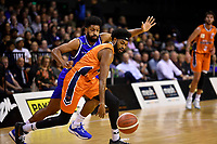 Alonzo Burton of the Southland Sharks and Dion Prewster of the Wellington Saints during the round two NBL match between the Wellington Saints and the Southland Sharks at TSB Bank Arena, Wellington, New Zealand on Friday 7 May 2021.<br /> Photo by Masanori Udagawa. <br /> www.photowellington.photoshelter.com