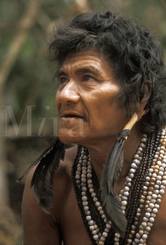 Portrait of Indian man in Guyana Highlands in Venezuela.