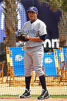Wilmington Blue Rocks pitcher Kelvin Herrera #19 warming up in the bullpen before a start against the Myrtle Beach Pelicans at BB&T Coastal Field in Myrtle Beach, South Carolina on April 10, 2011.   Photo By Robert Gurganus/Four Seam Images