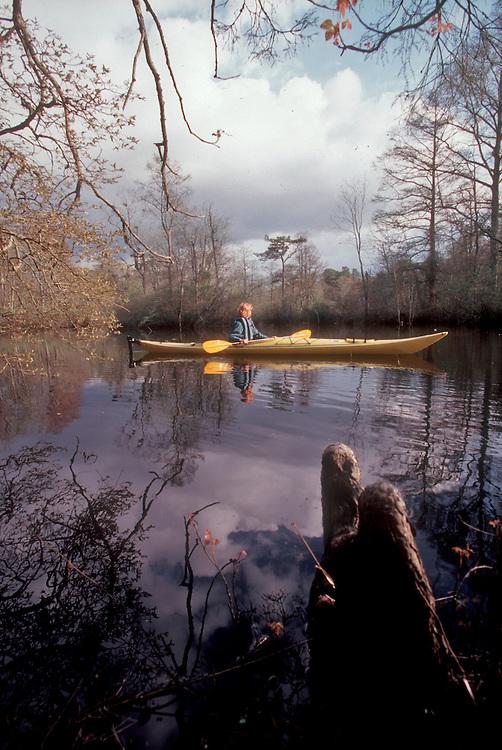 Maryland, Eastern Shore, Woman kayaker paddling Nassawango Creek, Nature Conservancy preserve, Pocomoke River, Chesapeake Bay, released, Maggie Coon,.