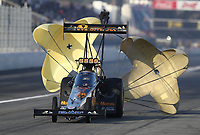 Feb 8, 2020; Pomona, CA, USA; NHRA top fuel driver Austin Prock during qualifying for the Winternationals at Auto Club Raceway at Pomona. Mandatory Credit: Mark J. Rebilas-USA TODAY Sports