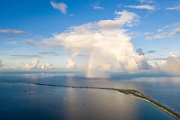 An aerial view of Fongafale island in the Funafuti atoll, Tuvalu. March, 2019.