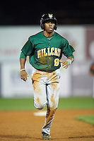 Lynchburg Hillcats center fielder Greg Allen (9) running the bases during a game against the Wilmington Blue Rocks on June 3, 2016 at Judy Johnson Field at Daniel S. Frawley Stadium in Wilmington, Delaware.  Lynchburg defeated Wilmington 16-11 in ten innings.  (Mike Janes/Four Seam Images)