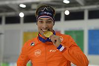SPEEDSKATING: 16-02-2020, Utah Olympic Oval, ISU World Single Distances Speed Skating Championship, Podium 1500m Men, Kjeld Nuis (NED), World champion, gold medal, ©photo Martin de Jong