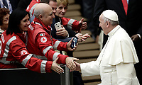 Papa Francesco saluta alcuni membri della Croce Rossa Italiana al termine di un' udienza speciale in aula Paolo VI in Vaticano, 27 gennaio 2018.<br /> Pope Francis greets members of Italian Red Cross at the end of a special audience in Paul VI Hall at the Vatican, on January 27, 2018.<br /> UPDATE IMAGES PRESS/Isabella Bonotto<br /> <br /> STRICTLY ONLY FOR EDITORIAL USE