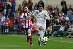 Atletico de Madrid's Gabi (L) and Real Madrid´s Cristiano Ronaldo during quarterfinal first leg Champions League soccer match at Vicente Calderon stadium in Madrid, Spain. April 14, 2015. (ALTERPHOTOS/Victor Blanco)