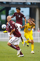 21 AUGUST 2010:  Colorado Rapids midfielder Mehdi Ballouchy (8) and Frankie Hejduk of the Columbus Crew(2) during MLS soccer game between Colorado Rapids vs Columbus Crew at Crew Stadium in Columbus, Ohio on August 21, 2010.