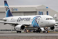Pictured: The Airbus A320-232, stock picture dated April 2012 at London Heathrow<br /> Re: EgyptAir Flight 804 (MS804/MSR804) is an international passenger flight operated by EgyptAir that went missing on 19 May 2016 at 02:45 local time.Egyptian authorities have stated that the plane most likely crashed into the sea. A multinational search and rescue operation is underway.<br /> The aircraft involved was an Airbus A320-232