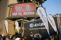 Allstate, Sponsors. The USMNT tied Mexico, 1-1, during the game at Lincoln Financial Field in Philadelphia, PA.