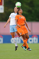 Whitney Engen (9) of the Chicago Red Stars and Rosana (11) of Sky Blue FC go up for a header. The Chicago Red Stars defeated Sky Blue FC 2-1 during a Women's Professional Soccer (WPS) match at Yurcak Field in Piscataway, NJ, on August 01, 2010.