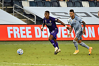 KANSAS CITY, KS - SEPTEMBER 23: Andres Perea #21 of Orlando City with the ball during a game between Orlando City SC and Sporting Kansas City at Children's Mercy Park on September 23, 2020 in Kansas City, Kansas.