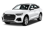 2021 Audi Q5-Sportback S-Line 5 Door SUV Angular Front automotive stock photos of front three quarter view