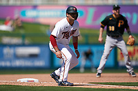 Minnesota Twins Aaron Sabato (96) leads off third base during a Major League Spring Training game against the Pittsburgh Pirates on March 16, 2021 at the Hammond Stadium in Fort Myers, Florida.  (Mike Janes/Four Seam Images)