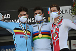 The final podium 1st and World Champion's Jersey for Filippo Ganna (ITA), 2nd Wout Van Aert (BEL) and 3rd Stefan Kung (SUI) at the end of the 31.7km Men Elite Time Trial of the 2020 UCI World Championships held around Imola, Italy. 25th September 2020.  <br /> Picture: Sirotti Stefano | Cyclefile<br /> <br /> All photos usage must carry mandatory copyright credit (© Cyclefile | Sirotti Stefano)
