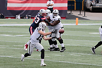 27th September 2020, Foxborough, New England, USA;  Las Vegas Raiders wide receiver Hunter Renfrow (13) makes a reception during the game between the New England Patriots and the Las Vegas Raiders