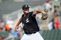 Kannapolis Intimidators relief pitcher Taylore Cherry (43) in action against the Lakewood BlueClaws at Kannapolis Intimidators Stadium on May 8, 2016 in Kannapolis, North Carolina.  The Intimidators defeated the BlueClaws 3-2.  (Brian Westerholt/Four Seam Images)