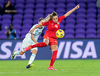 ORLANDO, FL - FEBRUARY 21: Shelina Zadorsky #4 of Canada takes a shot during a game between Canada and Argentina at Exploria Stadium on February 21, 2021 in Orlando, Florida.