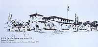 Sketch of U.S. Post Office Building, Santa Barbara, 1936. Ref: American Architect and Architecture, 151, August 1937. Dec. 1987
