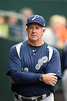 Pensacola Blue Wahoos pitching coach Jeff Fassero (13) during a game against the Jacksonville Suns on April 20, 2014 at Bragan Field in Jacksonville, Florida.  Jacksonville defeated Pensacola 5-4.  (Mike Janes/Four Seam Images)