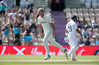 Kyle Jamieson, New Zealand celebrates the big wicket of Virat Kohli, India during India vs New Zealand, ICC World Test Championship Final Cricket at The Hampshire Bowl on 23rd June 2021