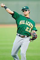 Matt Weaver (23) of the Lynchburg Hillcats warms up in the outfield prior to the game against the Winston-Salem Dash at BB&T Ballpark on August 5, 2013 in Winston-Salem, North Carolina.  The Dash defeated the Hillcats 5-0.  (Brian Westerholt/Four Seam Images)