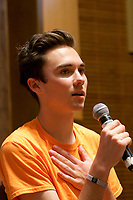 David Hogg, Co-Founder, March for Our Lives, speaking at MA Coalition to Prevent Gun Violence Peace MVP Awards at Temple Beth Elohim Wellesley MA 3.28.19