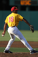 Stephen Tarpley #16 of the USC Trojans pitches against the California Bears at Dedeaux Field on April 5, 2012 in Los Angeles,California. California defeated USC 5-4.(Larry Goren/Four Seam Images)