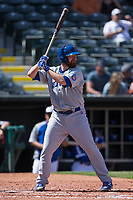 Jake Buchanan (43) of the Iowa Cubs at bat during a game against the Oklahoma City Dodgers at Chickasaw Bricktown Ballpark on April 9, 2016 in Oklahoma City, Oklahoma.  Oklahoma City defeated Iowa 12-1 (William Purnell/Four Seam Images)