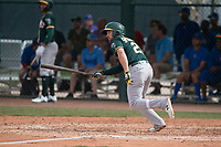Oakland Athletics second baseman J.P. Sportman (21) starts down the first base line during a Minor League Spring Training game against the Chicago Cubs at Sloan Park on March 13, 2018 in Mesa, Arizona. (Zachary Lucy/Four Seam Images)