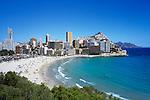 Spain, Costa Blanca, Benidorm: Summer beach scene