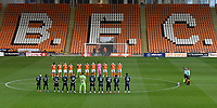 Both teams observe a minutes silence<br /> <br /> Photographer Dave Howarth/CameraSport<br /> <br /> EFL Trophy - Northern Section - Group G - Blackpool v Leeds United U21 - Wednesday 11th November 2020 - Bloomfield Road - Blackpool<br />  <br /> World Copyright © 2020 CameraSport. All rights reserved. 43 Linden Ave. Countesthorpe. Leicester. England. LE8 5PG - Tel: +44 (0) 116 277 4147 - admin@camerasport.com - www.camerasport.com