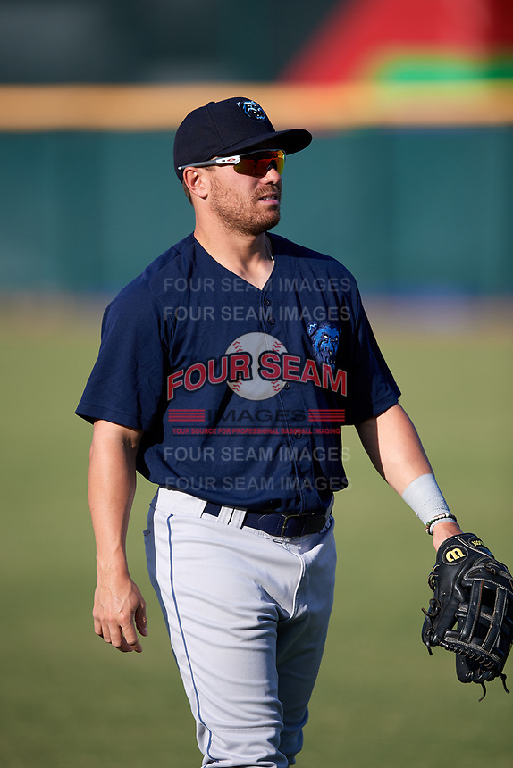 Mobile BayBears right fielder Zach Gibbons (14) warms up before a game against the Jacksonville Jumbo Shrimp on April 14, 2018 at Baseball Grounds of Jacksonville in Jacksonville, Florida.  Mobile defeated Jacksonville 13-3.  (Mike Janes/Four Seam Images)