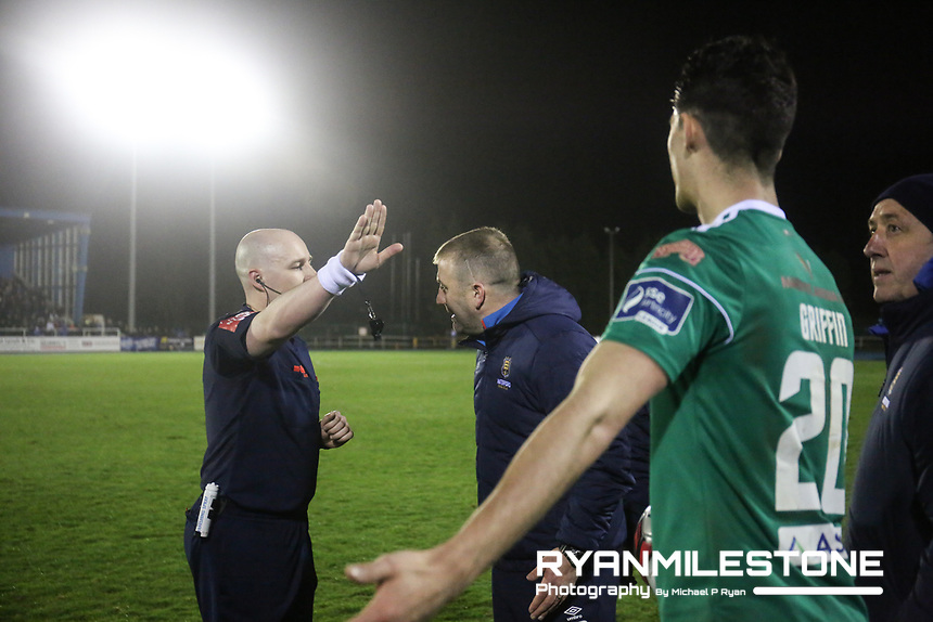 Referee Robert Rogers sends Alan Reynolds off during the SSE Airtricity League Premier Division game between Waterford FC and Cork City on Friday 6th April 2018 at The RSC, Waterford. Photo By Michael P Ryan