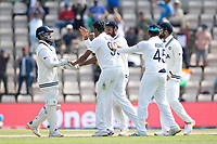 Rishabh Pant, India and Ravichandran Ashwin, India celebrate the wicket of Tom Latham during India vs New Zealand, ICC World Test Championship Final Cricket at The Hampshire Bowl on 23rd June 2021