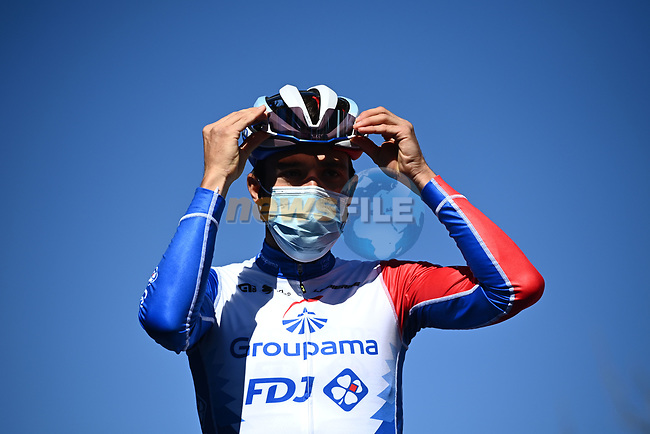 Thibaut Pinot (FRA) Groupama-FDJ at sign on before the start of Stage 6 of Tirreno-Adriatico Eolo 2021, running 169km from Castelraimondo to Lido di Fermo, Italy. 15th March 2021. <br /> Photo: LaPresse/Marco Alpozzi | Cyclefile<br /> <br /> All photos usage must carry mandatory copyright credit (© Cyclefile | LaPresse/Marco Alpozzi)
