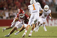 Arkansas linebacker Grant Morgan (31) rushes towards Texas quarterback Hudson Card (1), Saturday, September 11, 2021 during the third quarter of a football game at Reynolds Razorback Stadium in Fayetteville. Check out nwaonline.com/210912Daily/ for today's photo gallery. <br /> (NWA Democrat-Gazette/Charlie Kaijo)